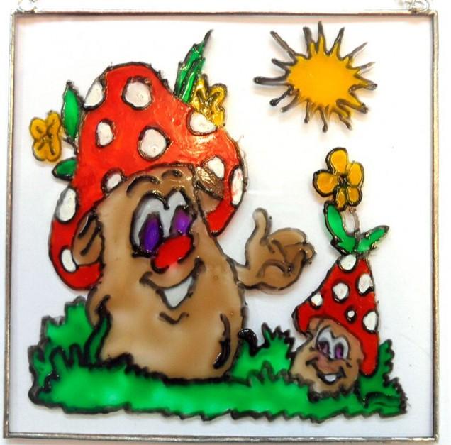 cartoon happy mushrooms image