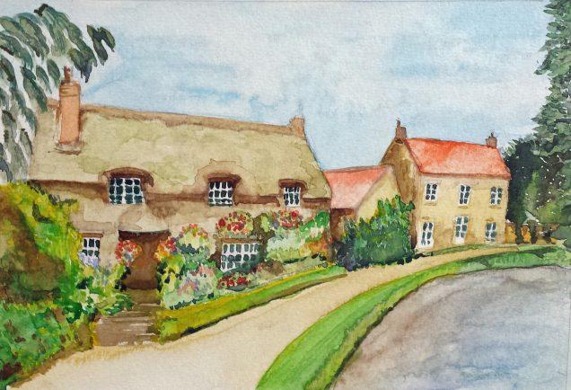 Art group member Cheryl's watercolour landscape painting