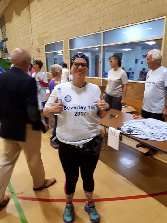 Stacy Mowforth in her Beverly 10k tee shirt