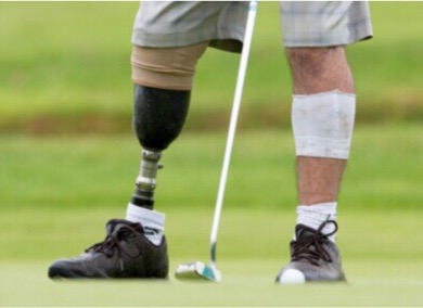 Picture of disabled man's legs playing golf